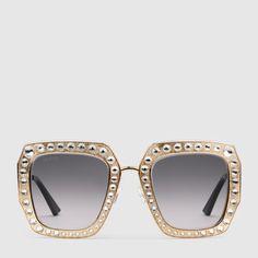 88e98825615a0 Oversize square-frame metal sunglasses Óculos De Sol Para Mulheres,  Acessórios De Mulheres,