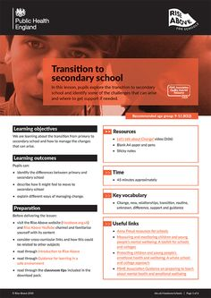 Transition to secondary school lesson plan pack Secondary School, Primary School, Learning Objectives, Year 6, Change Management, Rise Above, School Lessons, Health And Wellbeing