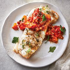 Tomato-balsamic jam with pancetta perks this amazingly tender slow-cooker cod up into something restaurant worthy. Yes, you can cook fish… Cooking Light Recipes, Slow Cooker Recipes, Crockpot Recipes, Healthy Recipes, Weeknight Recipes, Slow Cooking, Healthy Meals, Paleo, Keto