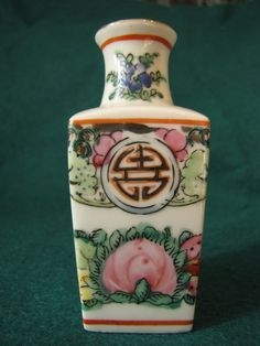 VINTAGE Japan Hand Painted Mini VASE Flowers Marked White
