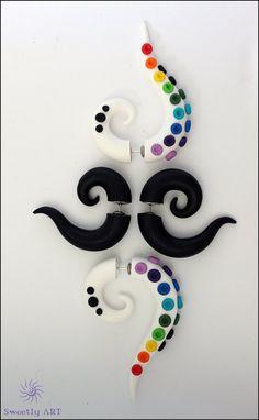Set of fake gauge White Black rainbow colors black by SweetlyART