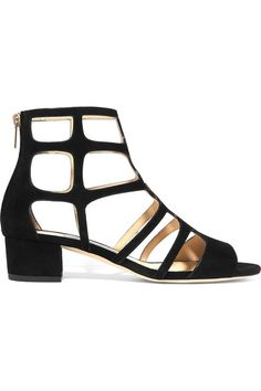 Jimmy Choo - Ren Cutout Suede Sandals - Black - IT
