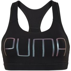 Puma Powershape Forever Logo Bra ($25) ❤ liked on Polyvore featuring activewear, sports bras, logo sportswear, puma sports bra, puma activewear and puma sportswear