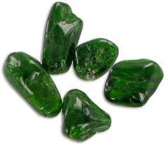 Chromine Diopside Tumbled Stones - good for body aches & pains  Also good for calming animals
