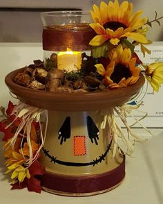 Fancy DIY Fall Craft Ideas to Bring Autumn to Your Home - Fancy DIY Fall Craft Ideas to Bring Autumn to Your Home - - Scarecrow Mason Jar Fall Decor Fall Centerpiece Scarecrow Clay Pot Projects, Clay Pot Crafts, Fall Projects, Diy And Crafts, Diy Projects, Decor Crafts, Easy Fall Crafts, Spring Crafts, Shell Crafts