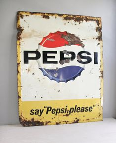large & rustic metal pepsi sign / magnetic board. $75,00, via Etsy. #pepsi #cola #vintage