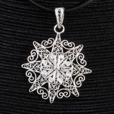 Shinning Sun -silver filigree pendanr