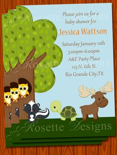 BABY+SHOWER+invitation++forest+friends+theme++by+RosetteDesigns,+$5.50