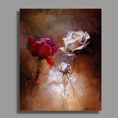 Modern+Flower+Oil+Painting+with+Stretched+Frame+Ready+to+Hang+Hand-Painted+Canvas+–+USD+$+85.99