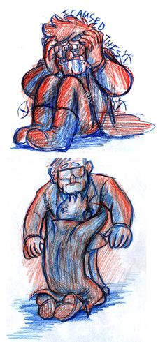 """demona-silverwing:  So I was imagining Ford finally breaking down under the weight of his guilt and loneliness while the Weirdmageddon happens, but then Stan (and the kids) save him from himself (I don't theorize,  I'm just imagining this). Also I had this image in my mind where Ford is like that son from """"The Return of the Prodigal Son"""". You know… regretful and stuff. Don't mind me and let me have this :D"""