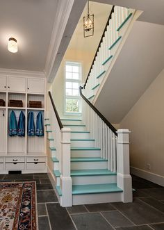 Mitch Wise Design, Inc. - Door County, Wisconsin - Residential and interior design firm specializes in combining timeless architectural aesthetics with modern day comfort and function. Painted Hardwood Floors, Turquoise Room, Painted Stairs, House Stairs, Home Upgrades, Home Design Plans, Coastal Homes, Creative Home, Custom Homes
