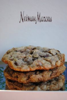 Neiman Marcus Cookies - $250 Recipe :-)  •2 cups butter  •4 cups flour  •2 teaspoons baking soda  •2 cups sugar  •5 cups blended oatmeal  •24 ounces chocolate chips  •2 cups packed brown sugar  •1 teaspoon salt  •1 (8 ounce) Hershey Bars (grated)  •4 large eggs  •2 teaspoons baking powder  •2 teaspoons vanilla  •3 cups chopped nuts (your choice)