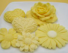 Decorative Yellow Soaps - Heart and Flower Soaps Scented with White Tea and Ginger