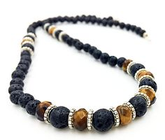 Men Lava Necklace Tiger's Eye Jewelry Natural Stones by MorMalas