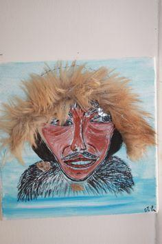 serie il fait froid:inuit acrylique et collage