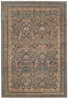Offering a one-of-a-kind design and sublime palette of color, this exquisite, highly decorative Laver Kirman antique Persian carpet would make the ideal complement to a sophisticated home décor.