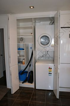 Laundry 026 by Sally Steer Design. Stacked Washer Dryer, Washer And Dryer, Laundry Design, Laundry In Bathroom, Washing Machine, Home Appliances, Sally, Kitchen, Image