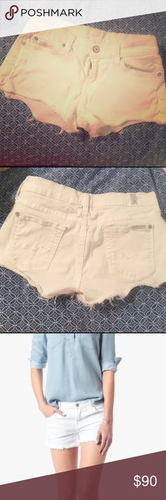 """7 for All Mankind White Cutoffs 🌸White is always in season and with these truly classic and modern styles, white is exciting again! 🌸A more authentic white twill, with a 9 oz weight, is perfect for our Cut Off Short 🌸With tonal threads and silver hardware, these are sexier in white 🌸Front Rise: 7 1/2"""" 🌸Back Rise: 11 1/2"""" 🌸Inseam: 2 1/2"""" 🌸Fabric is: 98% Cotton & 2% Spandex 7 For All Mankind Shorts Jean Shorts"""