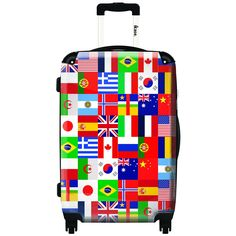 iKase International Flags Multicolor Microfiber//Nylon/Polycarbonate 20-inch Fashion Hardside Carry-on Spinner Suitcase
