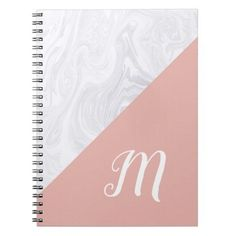 Modern Rose Gold Pink Marble Monogram Notebook