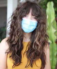 Curly Hair Fringe, Layered Haircuts With Bangs, Curly Hair Cuts, Hairstyles With Bangs, Long Hair Cuts, Wavy Hair, Curly Hair Styles, Straight Bangs Curly Hair, Long Curly Layers