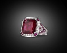 Estate Jewelry, Colored Gemstones, Rubellite, Ruby and Diamond Ring ~ M.S. Rau Antiques