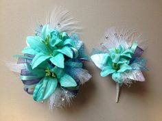 Turquoise silk prom corsage.  letsdancegarters.com
