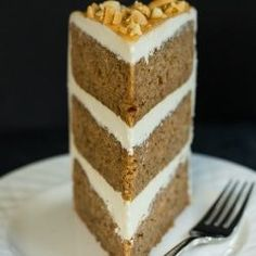 A spiced applesauce cake filled and frosted with an old-fashioned salted caramel buttercream.