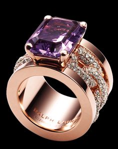 Ralph Lauren pink gold & diamond ring @}-,-;---