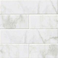 "GLOSSY WHITE CARRARA Subway Backsplash Tile Ceramic 4"" X 16"" KITCHEN BATHROOM"