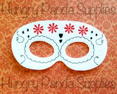 Day of the Dead Mask Embroidery Design, sugar skull mask, skull embroidery, dia de los muertos, in the hoop, mask embroidery, 5x7, 6x10