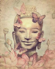 *♥* Smiling Buddha with butterflies by Claudia Tremblay Buddha Kunst, Art Buddha, Buddha Zen, Buddha Painting, Buddha Face, Buddha Tattoos, Smiling Buddha, Mandala Art, Yoga Kunst