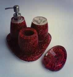 Red Saga Bathroom Set