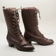 1920s style boots. Millicent Vintage Aviator Boots by Miss L Fire Chocolate  AT vintagedancer.com