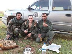"Russian-trained 5th corps soldiers having the most popular drink in Syria ""Yerba mate"" along with Russian soldier"