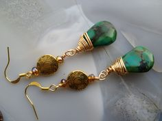 Genuine Turquoise drop earrings with brass findings. $25.00 by Tina Murphy - 2 Cool Creations Jewelry