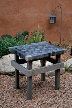 This garden bench is made with used inner tubes and standard plastic lumber balusters, widely available at hardware and lumber stores. via Mother Earth Living Outdoor Garden Bench, Outdoor Stools, Tire Garden, Garden Benches, Glass Garden, Weekend Projects, Diy Projects, Garden Furniture, Diy Furniture