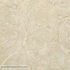 Papel Pintado Paris RS72105 con fondo en diferentes tonalidades de beige y dibujo de ramas en beige encadenándose de forma circular.