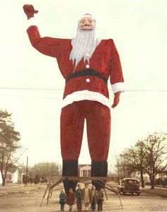 Before Big Tex became Big Tex, he was a giant Santa Claus in Kerens, Texas, east of Corsicana. This photo was taken in 1949. Two years later, the giant figure was purchased for 750 dollars by Dallas banker R.L. Thornton, then president of the State Fair of Texas and later mayor of Dallas. Big Tex made his debut at the State Fair in 1952. (The Dallas Morning News)