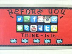 Social Media cautions for school bulletin board.
