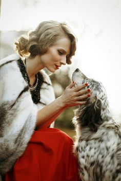 A Lady and a dog. Retro shooting.