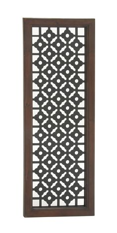 X New Traditional wood trellis wall panel, mahogany finish pine beveled frame, cut-out black mdf grid and floral trellis designFeatures: Color: Mahogany Brown, Black Finish: Finished Wood Theme: New Traditional Shipping Weight: lbs Cnc Cutting Design, Wood Trellis, Pattern And Decoration, Mahogany Brown, Wood Panel Walls, Wall Decor, Wall Art, Cool Walls, Rustic Chic