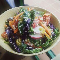 Ensalada de albahaca, col lombarda, coliflor, zanahoria, rabanillos y tomate