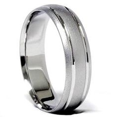 Mens 14K White Gold Brushed Comfort Fit Wedding Ring Band Size