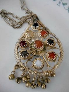 Vintage large INDIA pendent and chain Necklace by houuseofwren,