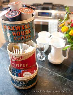 Brooklyn Limestone: DIY Vintage Coffee Can Tiered Tray  Cute way to organize coffee packs, sweeteners and tea bags.