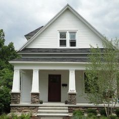 Concrete Porch Design Ideas, Pictures, Remodel, and Decor Concrete Porch, Stone Columns, Traditional Exterior, Stained Concrete, House Colors, Home Projects, House Plans, Outdoor Structures, Building