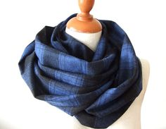 Unisex infinity scarf royal blue with black by TheScarfBoutique, $19.50