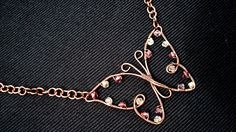 Wire Wrapped Butterfly Pendant Necklace by KrystalzKreations, $60.00