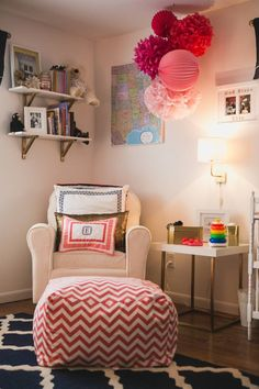 Project Nursery - Coral Chevron Ottoman